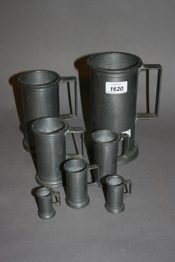 Graduated set of seven pewter measures