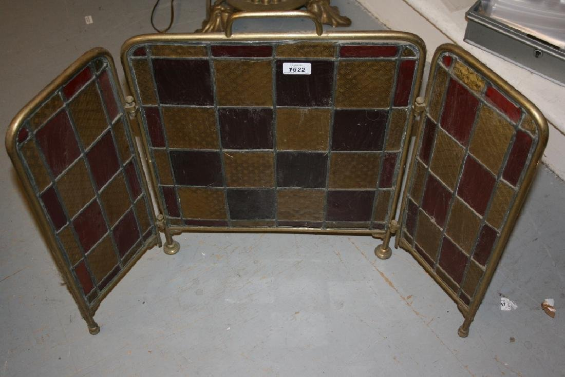 Small late 19th or early 20th Century brass three panel