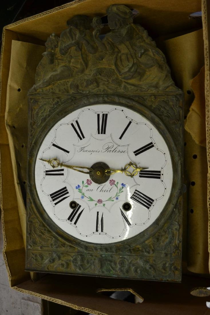 19th Century French Comtoise clock with embossed brass