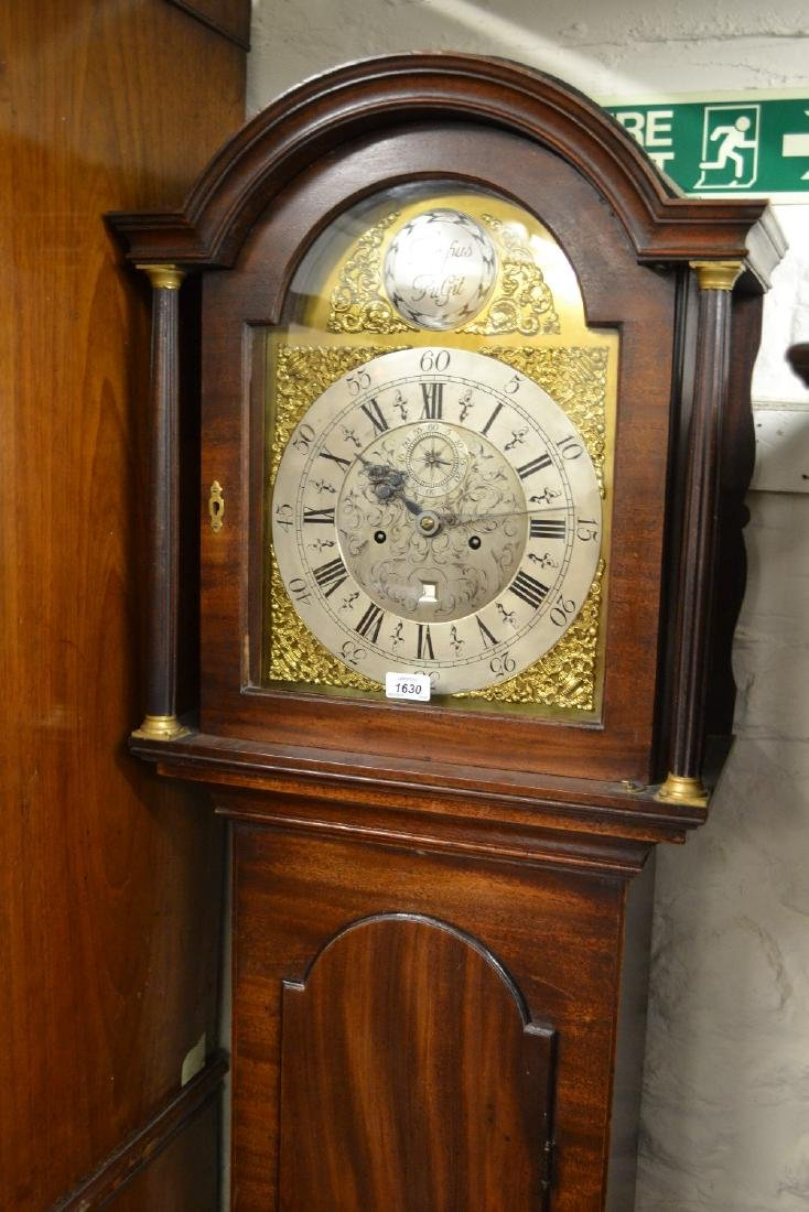George III mahogany longcase clock, the arched hood