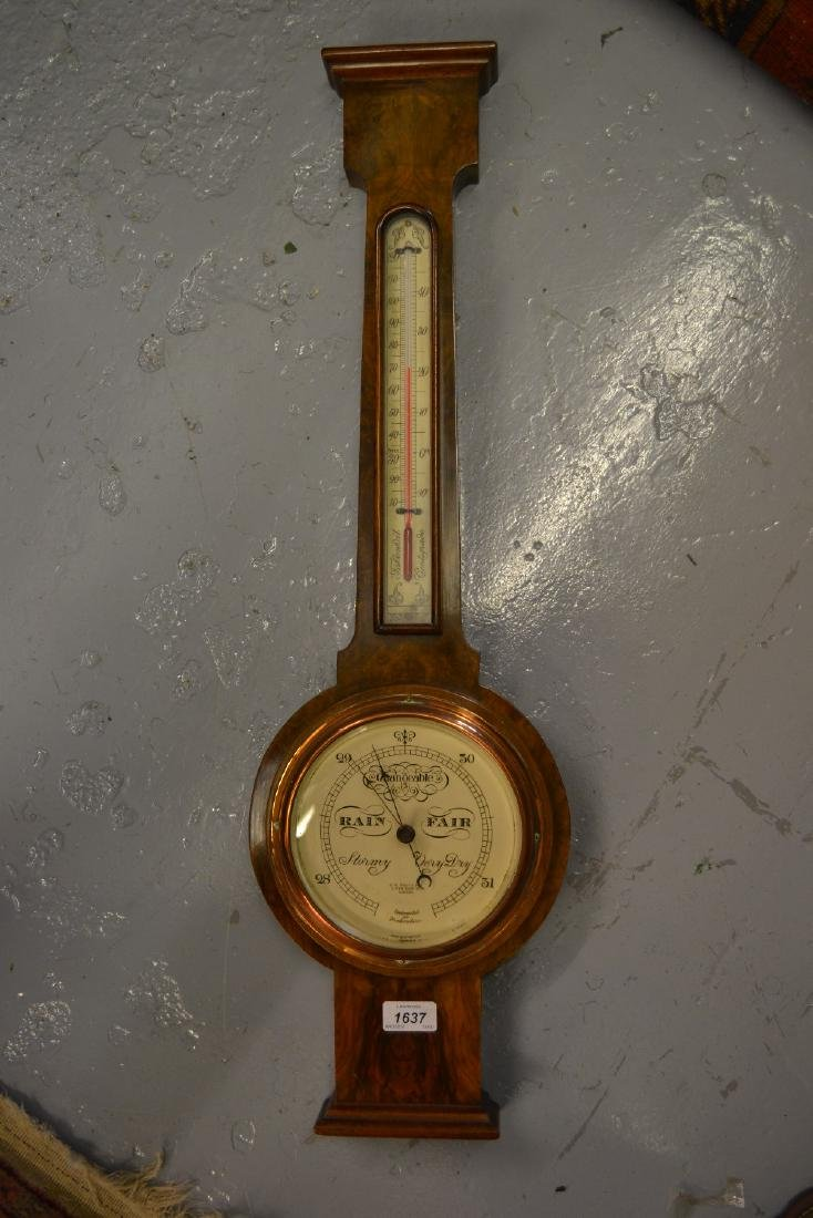 20th Century walnut cased wheel barometer by C.W. Dixey