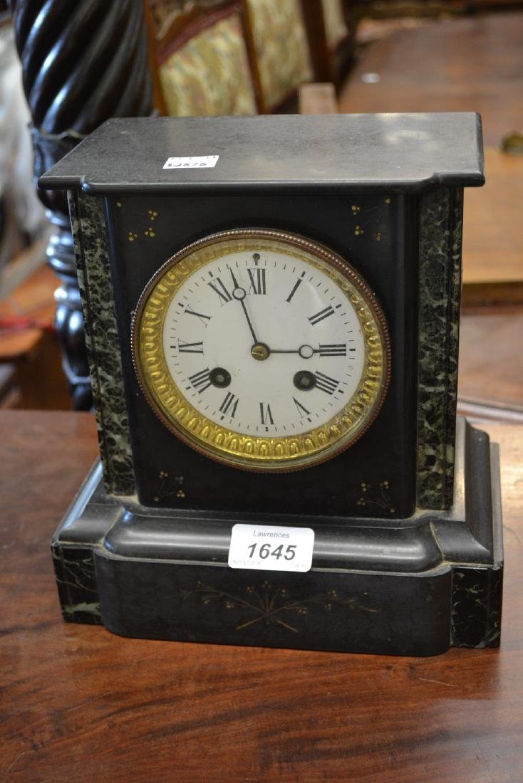 19th Century black slate marble mounted mantel clock,