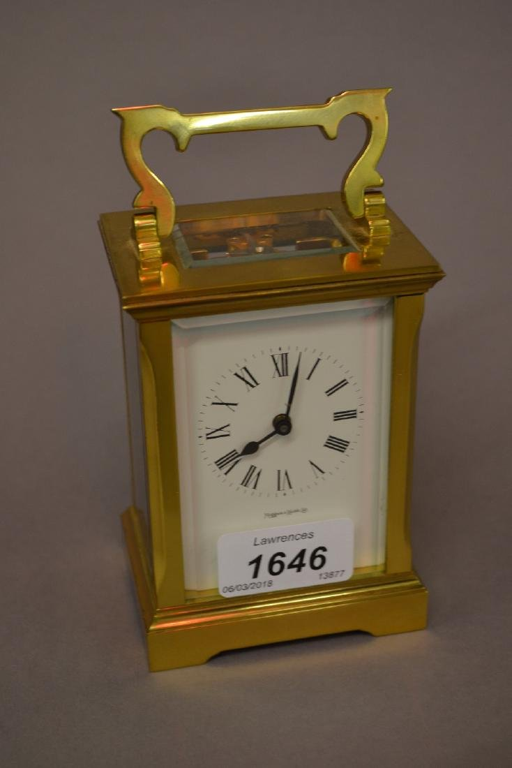 Small brass cased carriage clock with single train