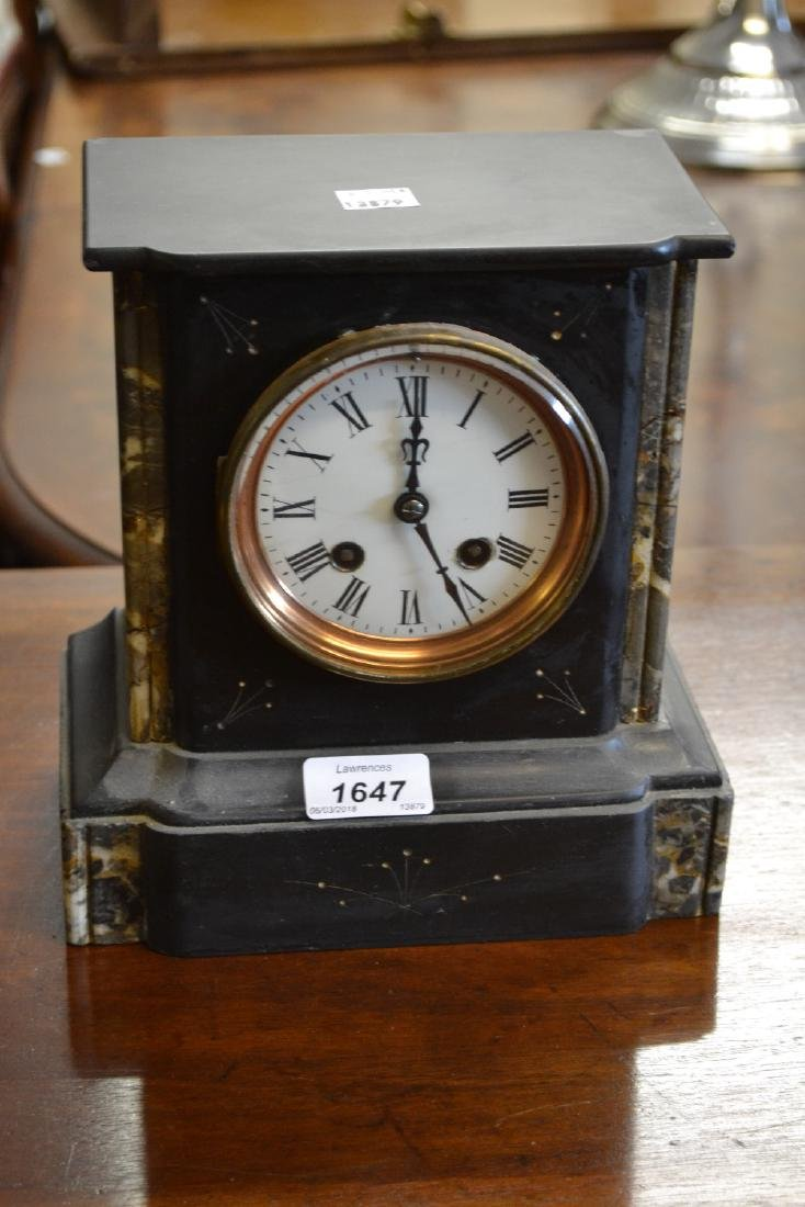19th Century black slate marble mounted mantel clock