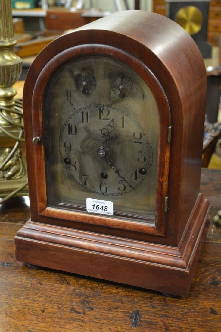 Early 20th Century mahogany dome shaped mantel clock,