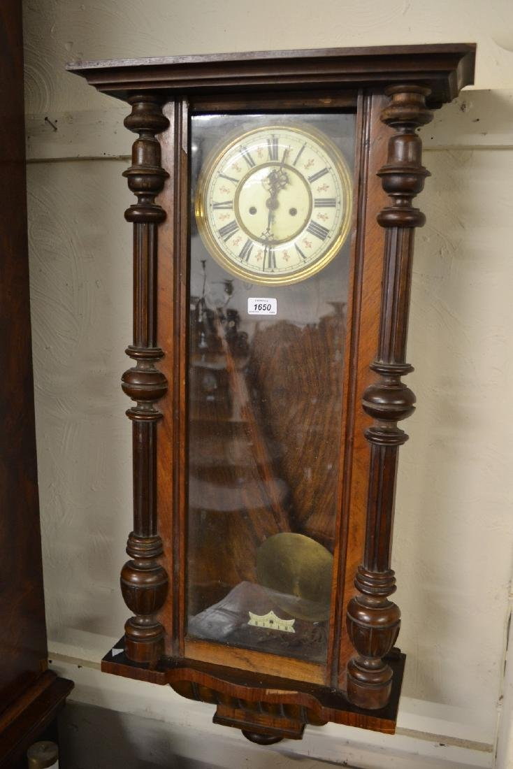 Walnut cased Vienna type two train wall clock (at