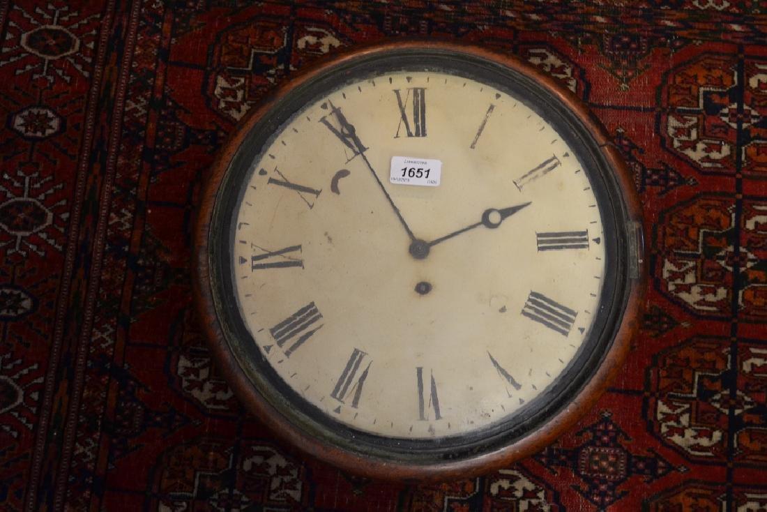 19th Century mahogany circular dial clock, the painted