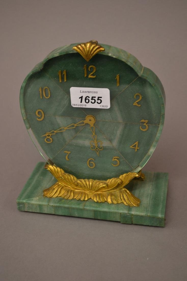 1930's Green and white marble mantel clock with gilt