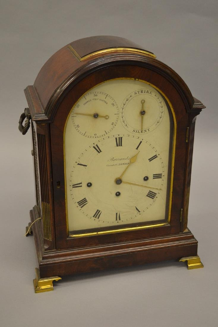 George III mahogany musical bracket clock by Barrauds,