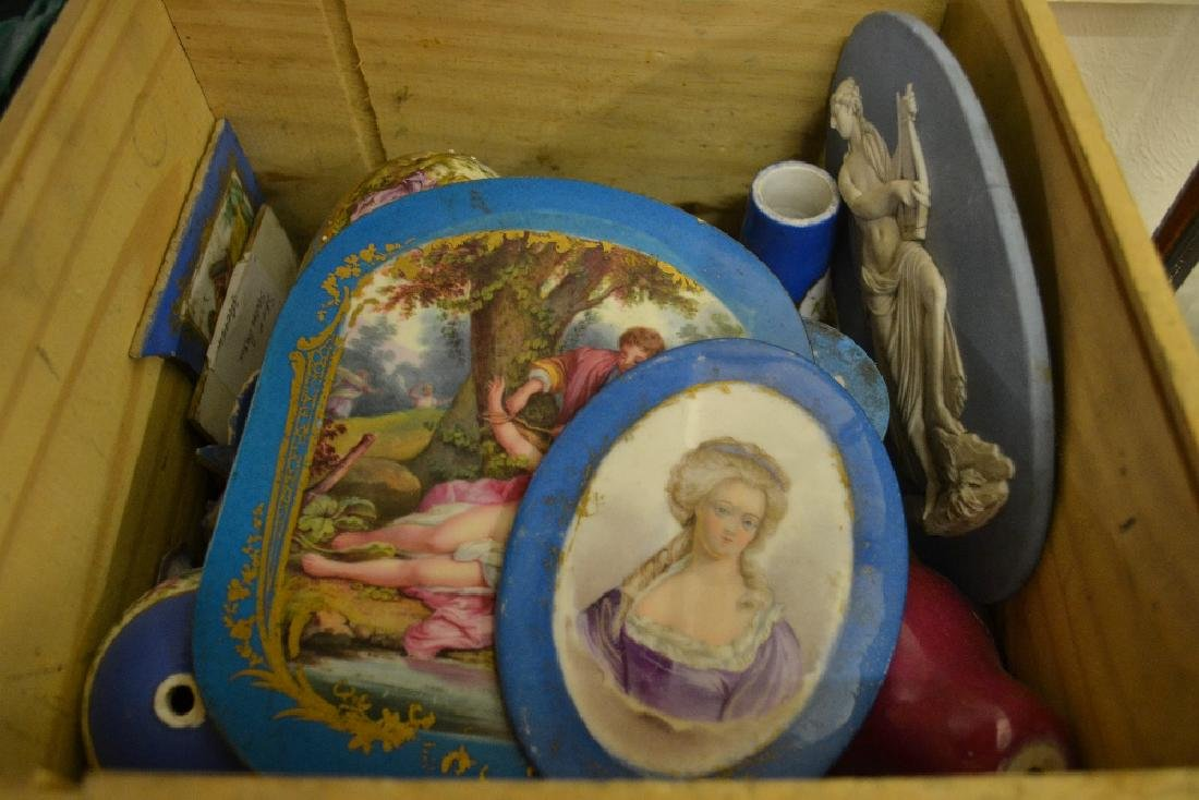 Pine box containing a quantity of porcelain furniture