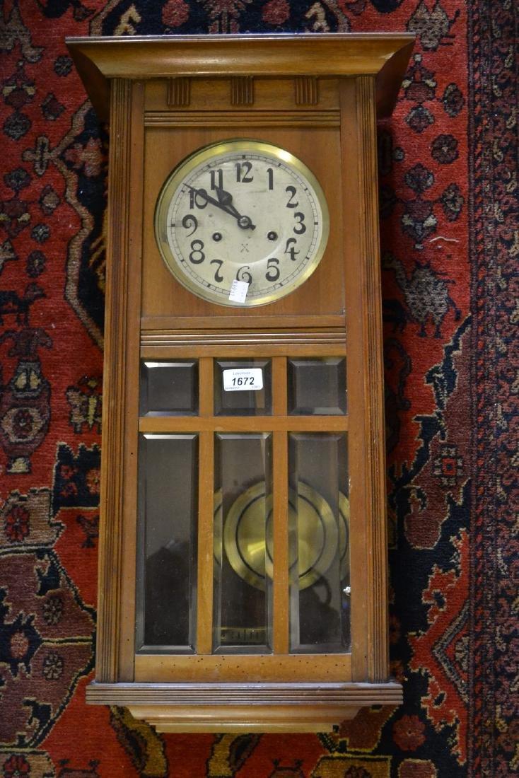 20th Century walnut cased Vienna style wall clock