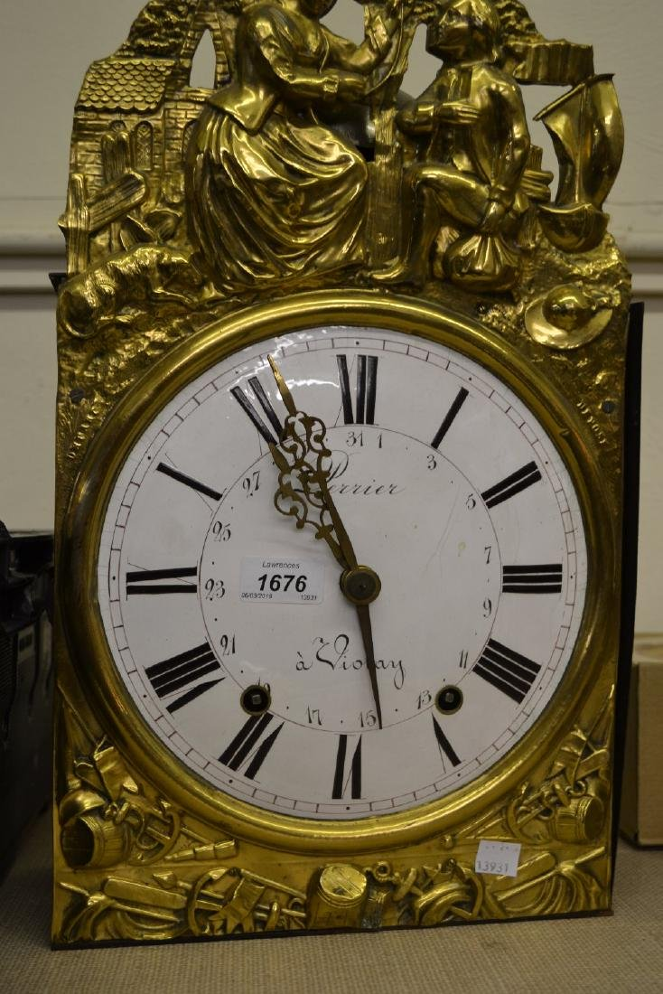 19th Century French Comtoise wall clock having brass