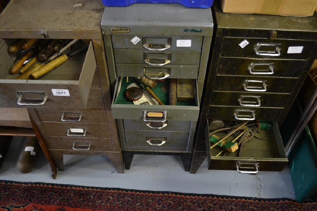 Three 20th Century metal machinists cabinets containing