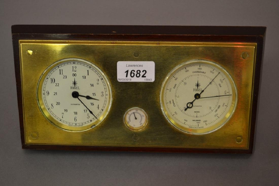 20th Century brass and mahogany weather station by