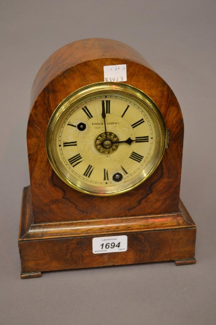 19th Century German walnut dome shaped mantel clock,