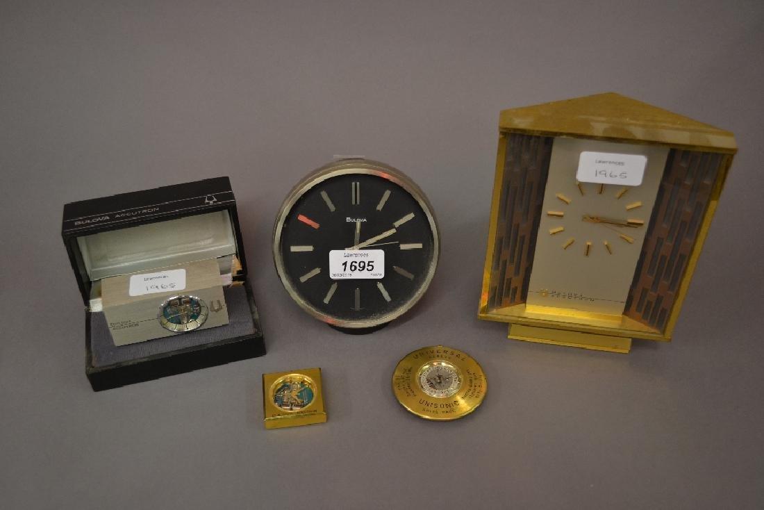 Three Bulova Accutron Swiss mantel clocks, two in