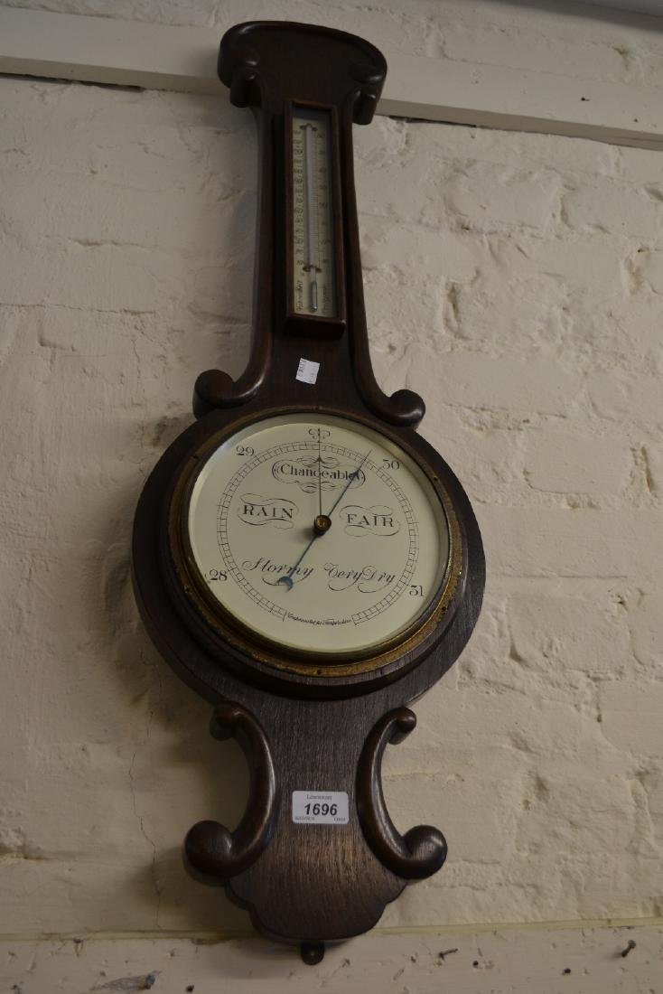 Victorian oak aneroid barometer / thermometer