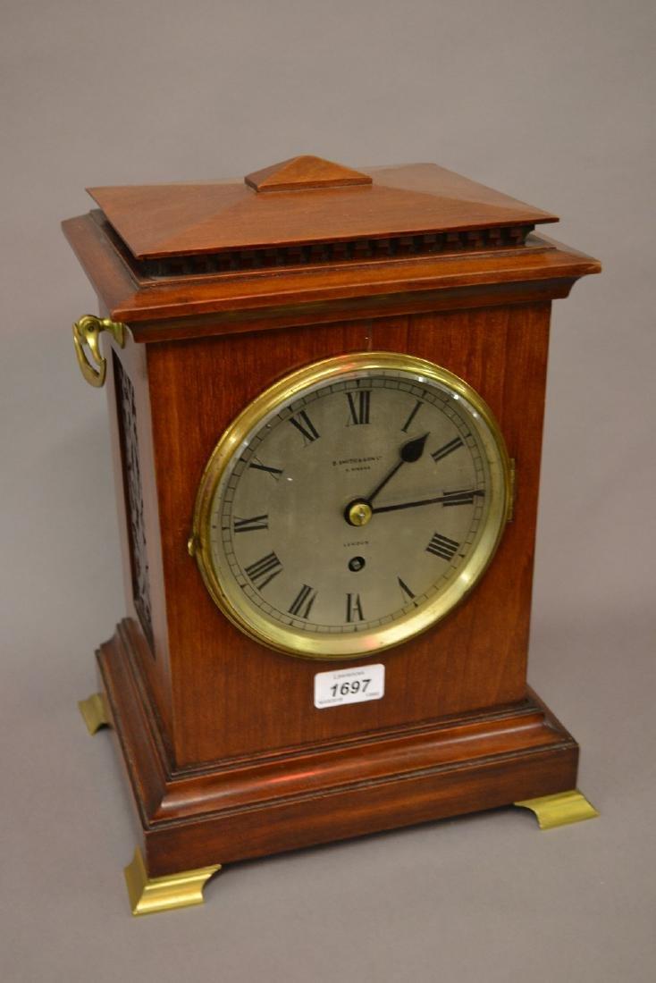 Edwardian mahogany bracket clock having circular