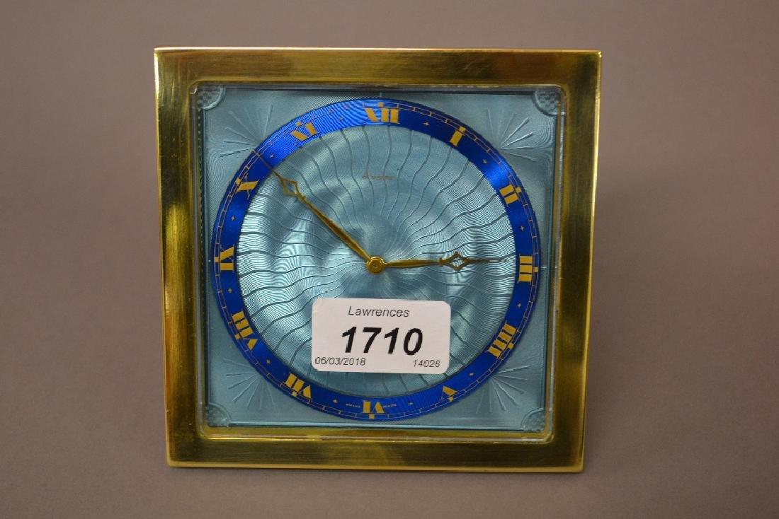 1920's Gilt brass enamel decorated strutt clock