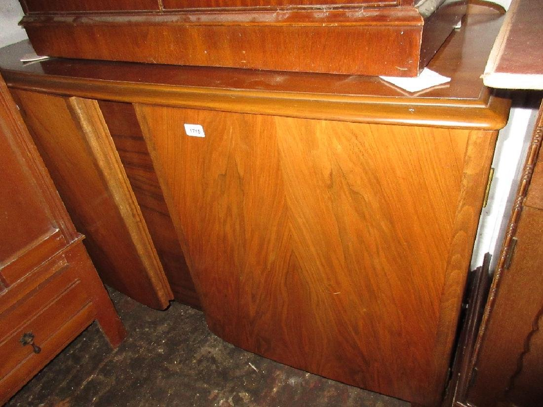 1970's Walnut semi bow fronted sideboard having two