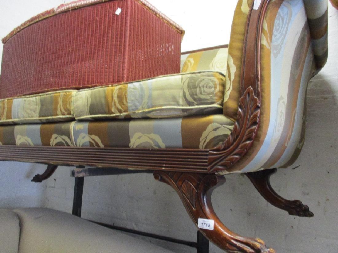 Reproduction mahogany Regency style sofa with scroll