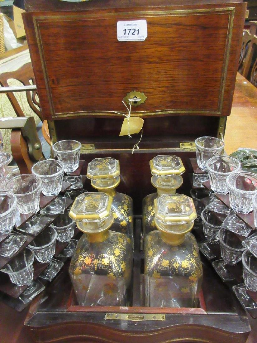 Victorian mahogany and brass inlaid decanter box of