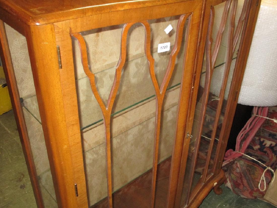 Mid 20th Century walnut semi bow fronted display