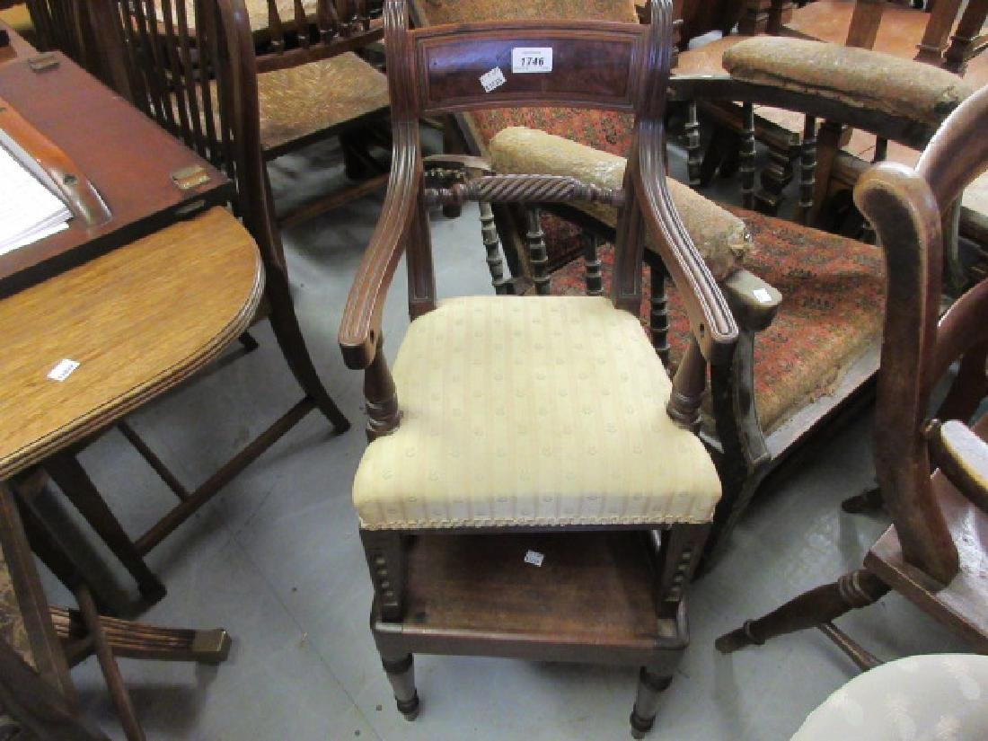 Regency mahogany child's high chair, the moulded rail