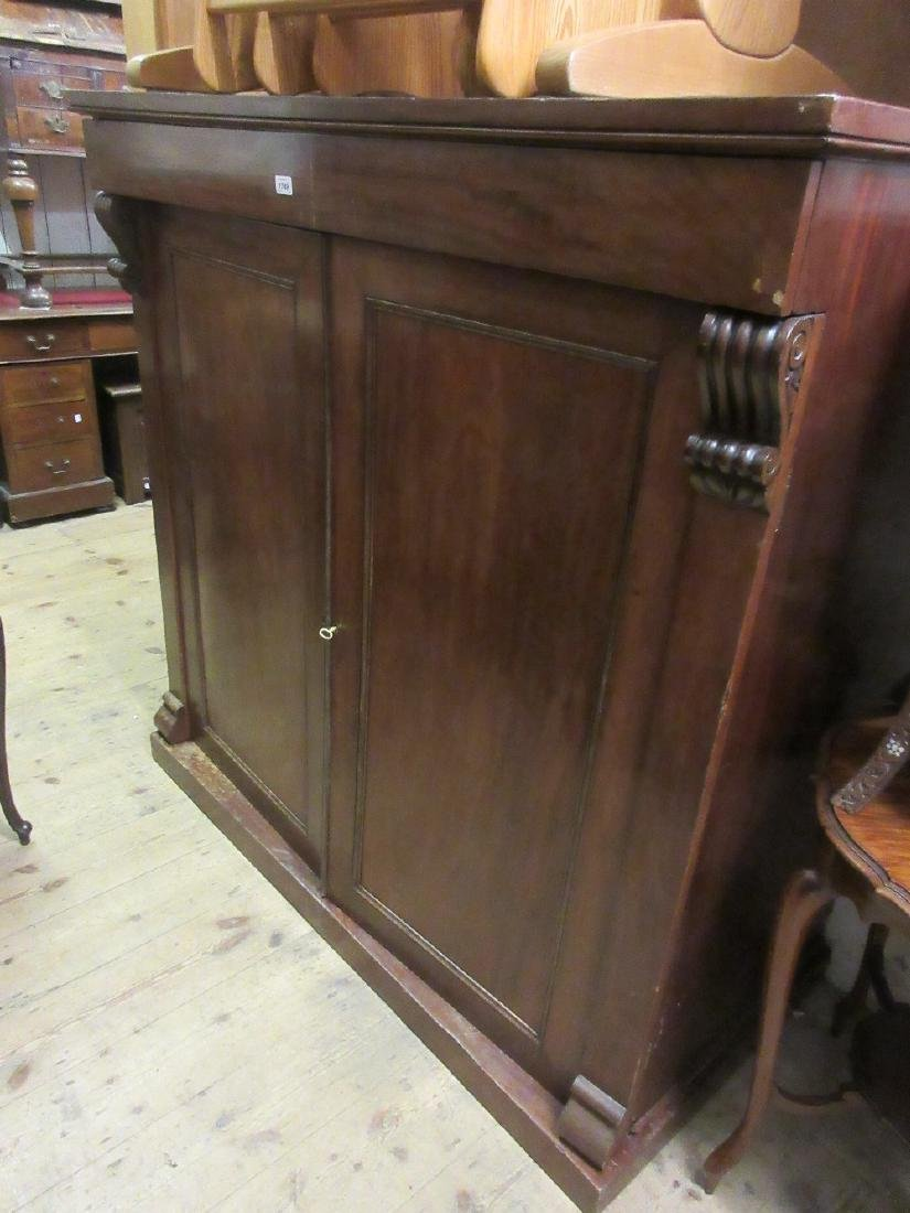 Large 19th Century mahogany low linen cupboard, having