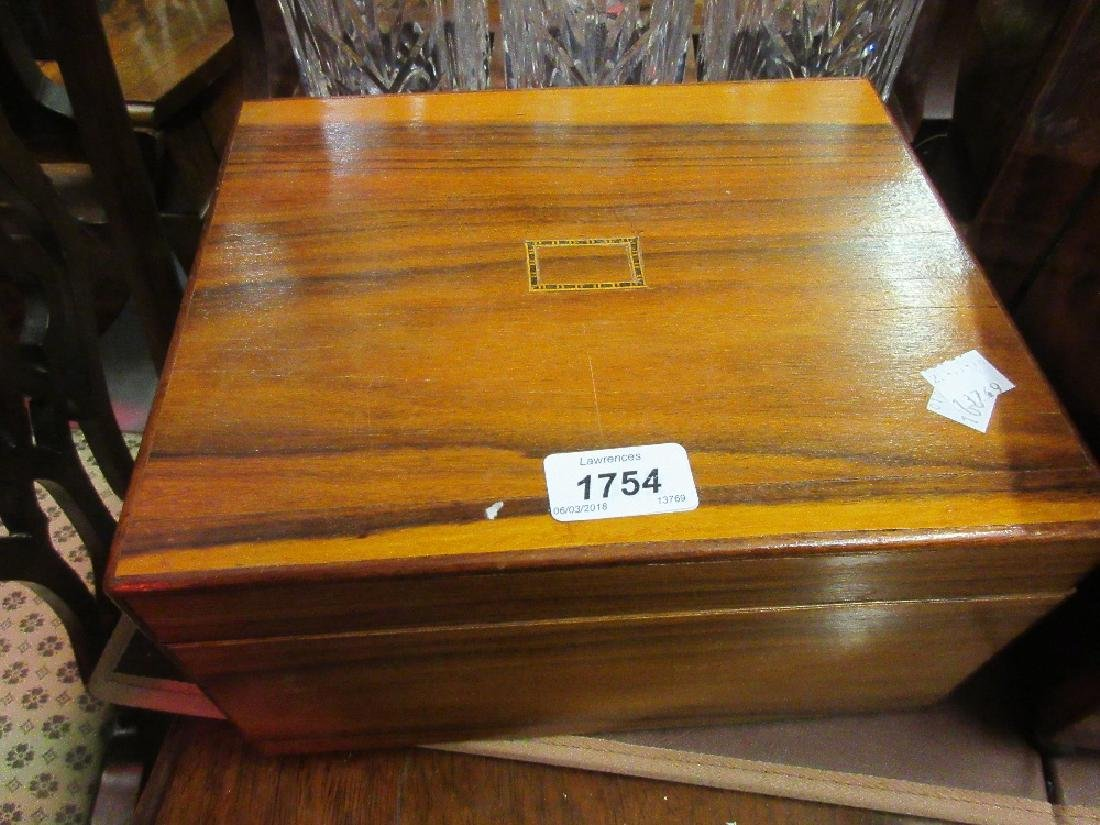 Hardwood work box with inlaid top, red lacquered box