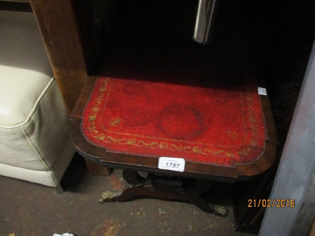 Reproduction mahogany rectangular coffee table with red