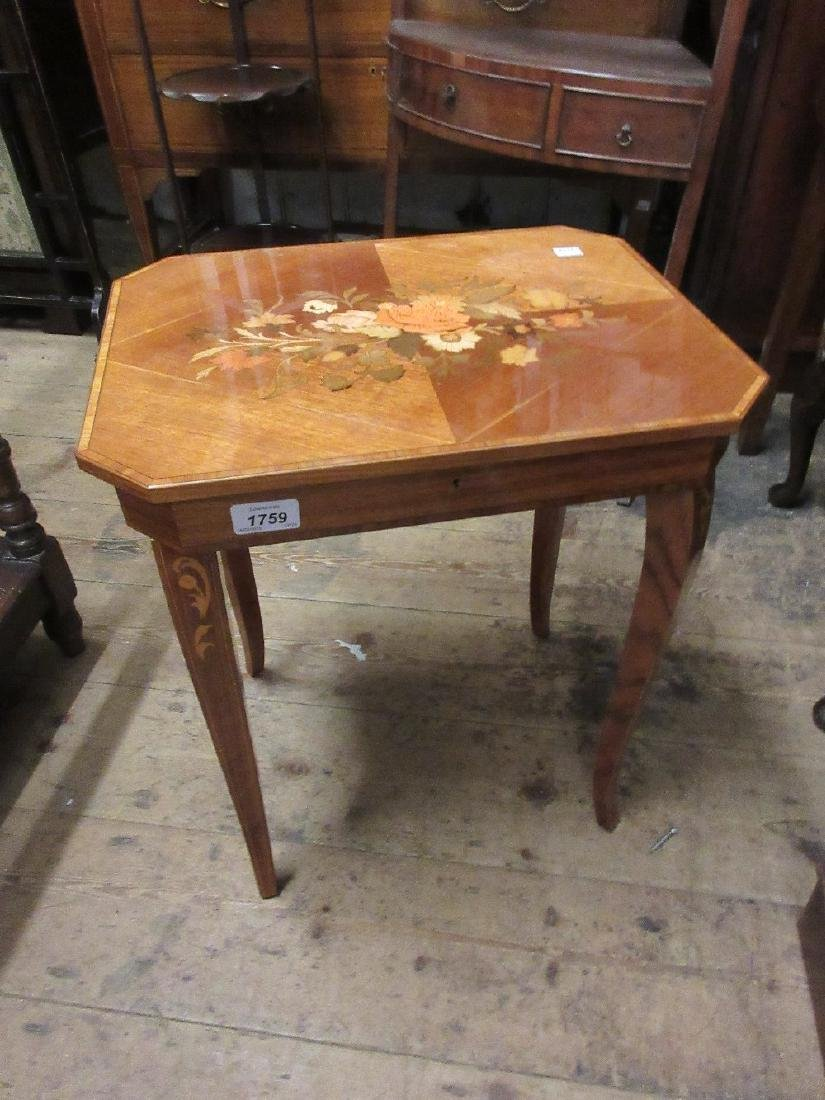 Reproduction Italian marquetry inlaid occasional table