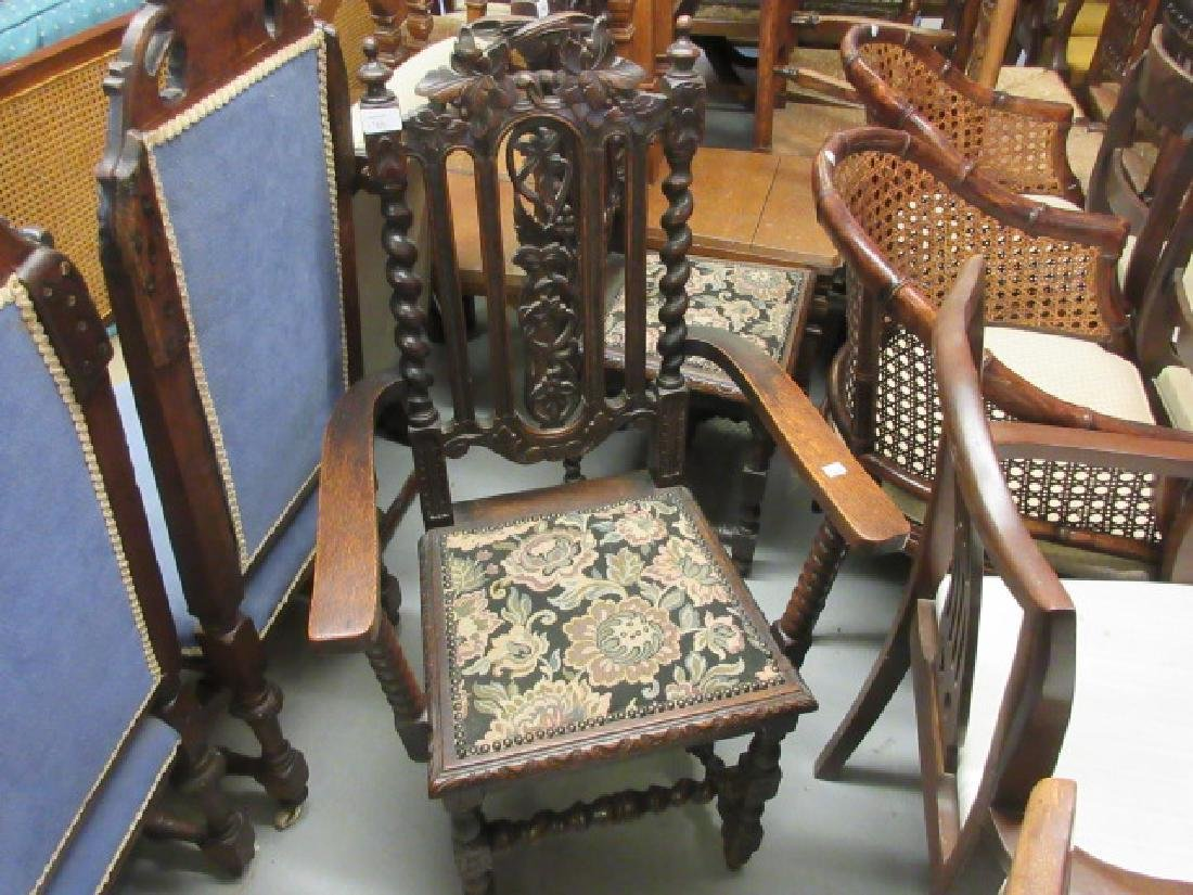 Pair of Victorian Carolean style oak hall chairs (one