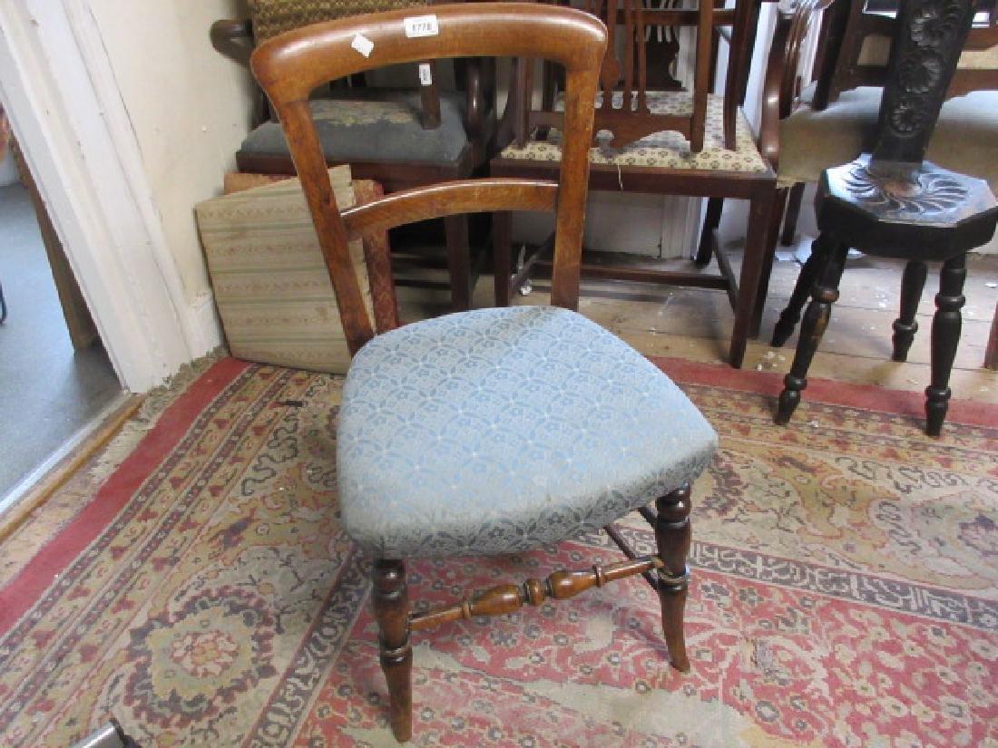 Set of six Victorian beechwood kitchen chairs, the rail