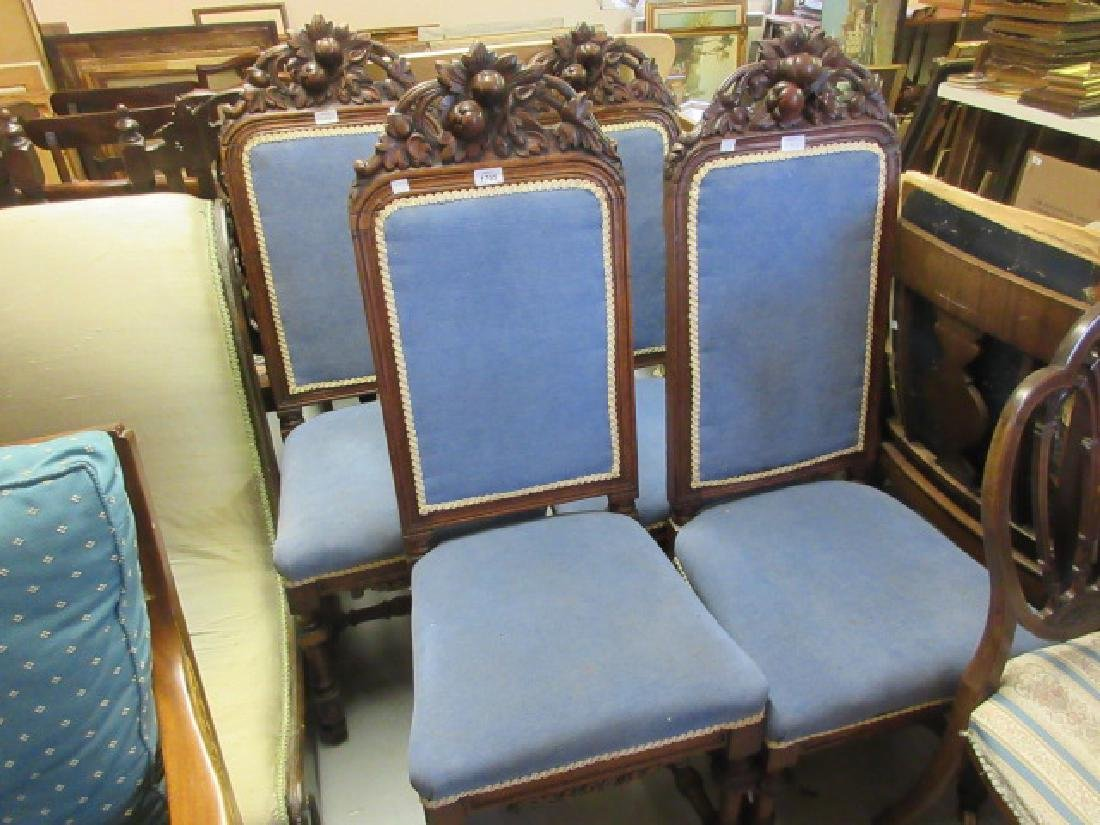 Set of four 19th Century carved oak dining chairs