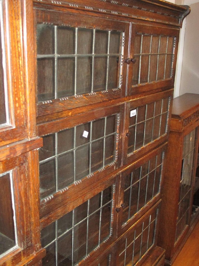 Minty oak and leaded glass five section bookcase