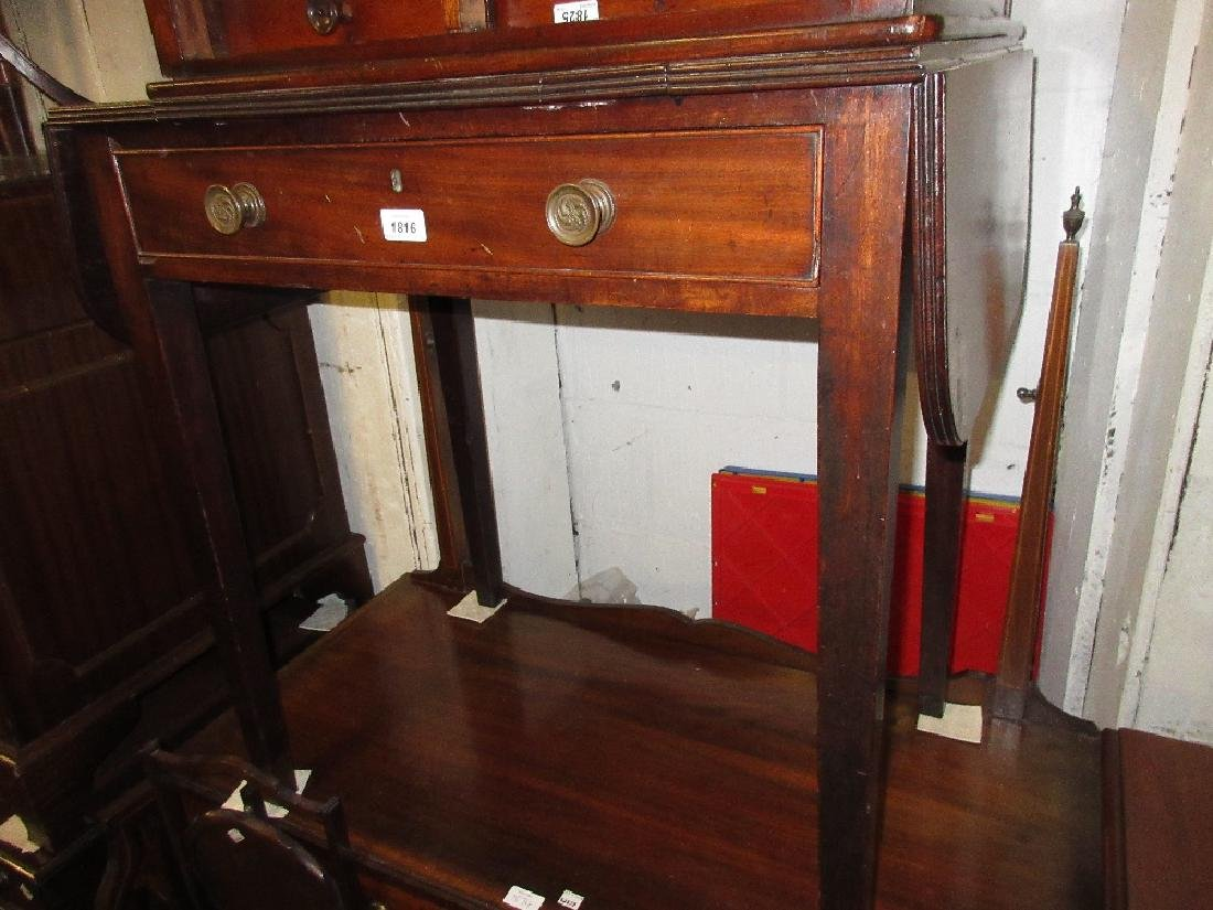 George III mahogany drop-leaf dressing table with a