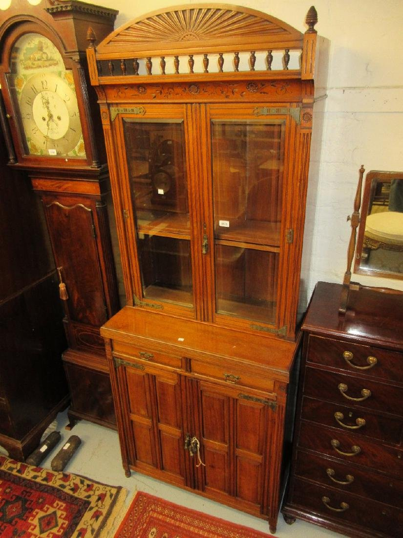 Late 19th Century walnut Aesthetic Movement bookcase