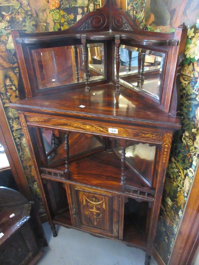 Edwardian rosewood marquetry inlaid corner cabinet with