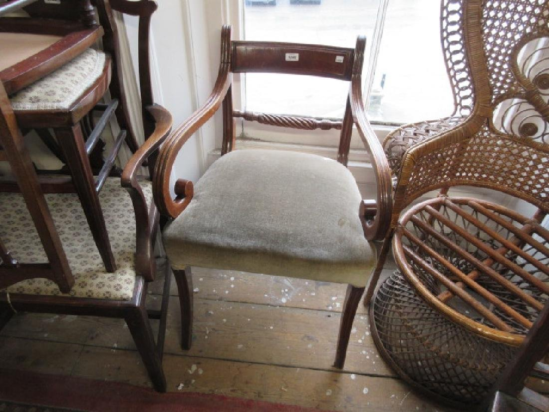 19th Century mahogany open elbow chair having rail and