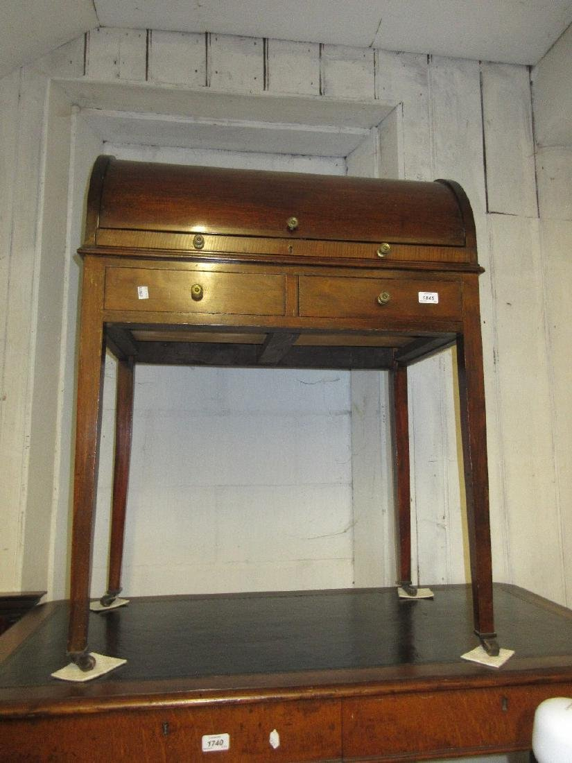 Edwardian mahogany cylinder desk with pull-out writing