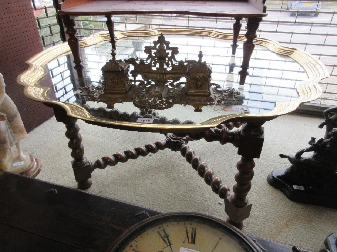 20th Century brass framed and glass topped coffee table