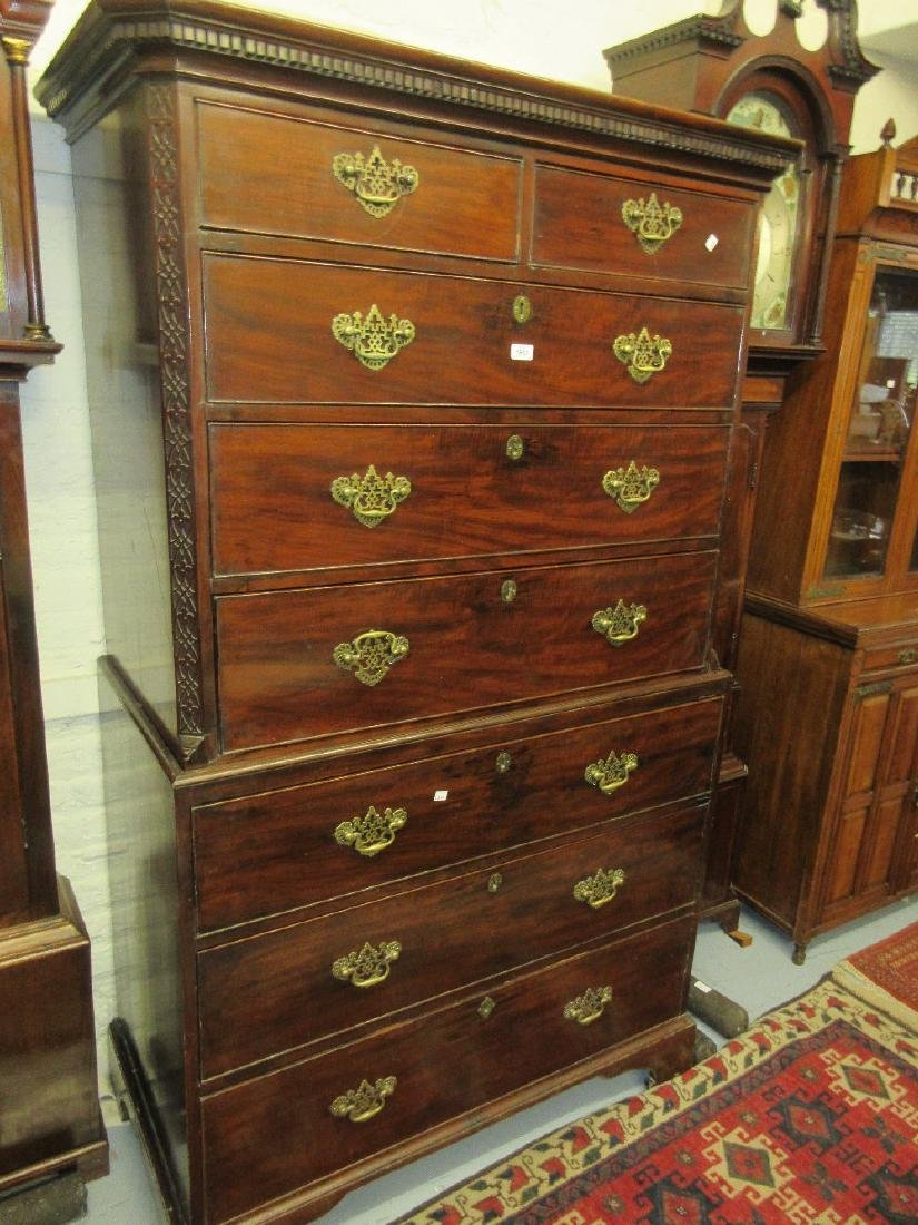19th Century mahogany chest on chest having moulded key