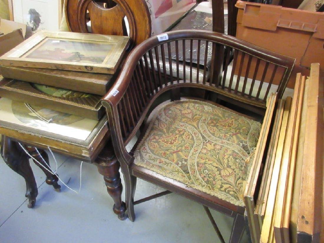Edwardian mahogany and line inlaid corner chair with a