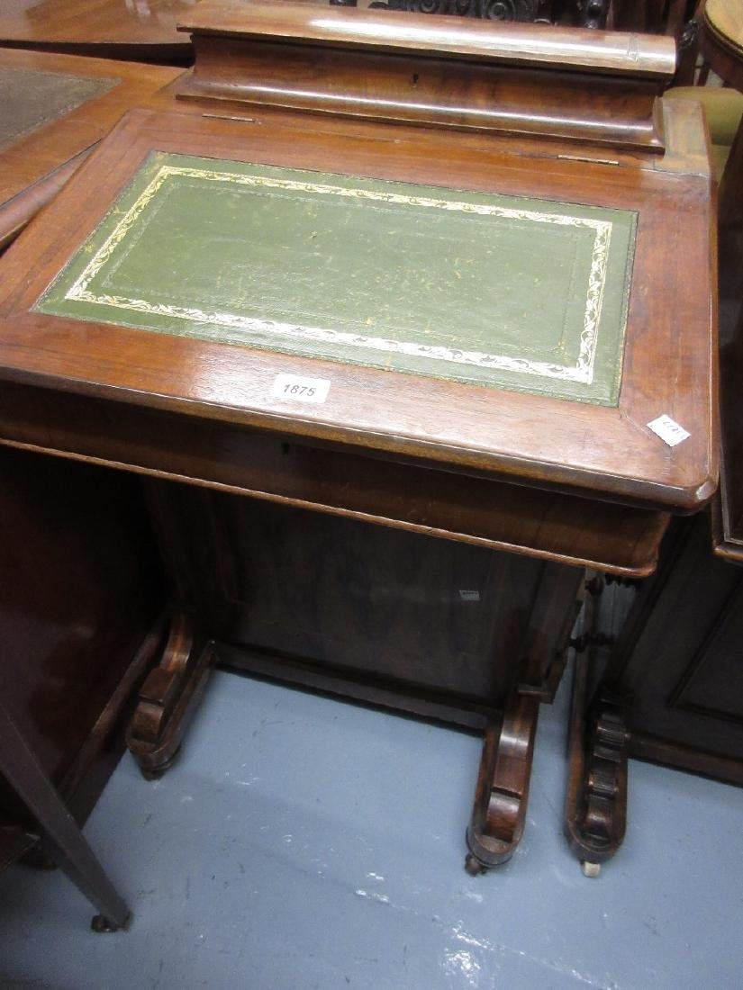 Victorian walnut Davenport with a fitted stationery