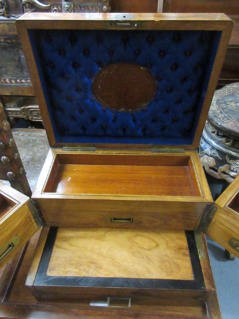 19th Century walnut and olive wood work box having