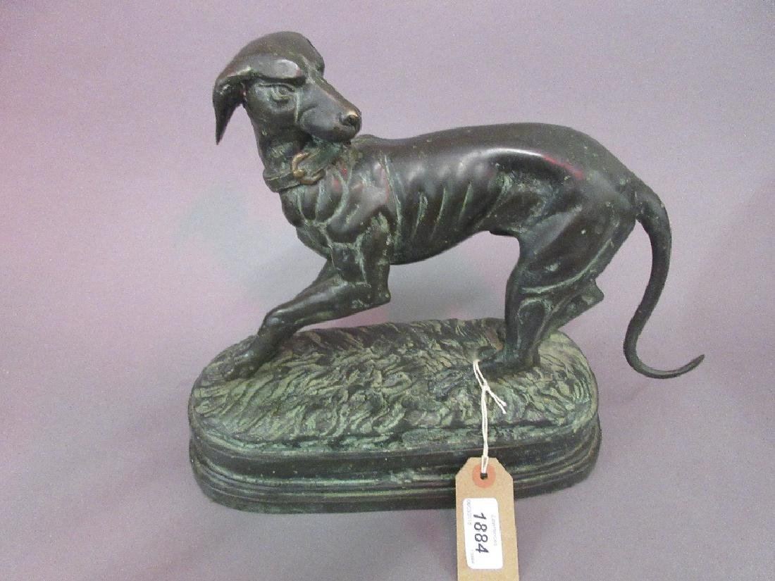 20th Century bronze patinated figure of a dog, 11ins
