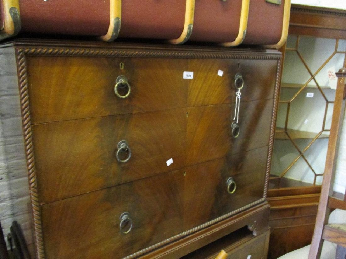 Early 20th Century mahogany chest with gadroon moulding