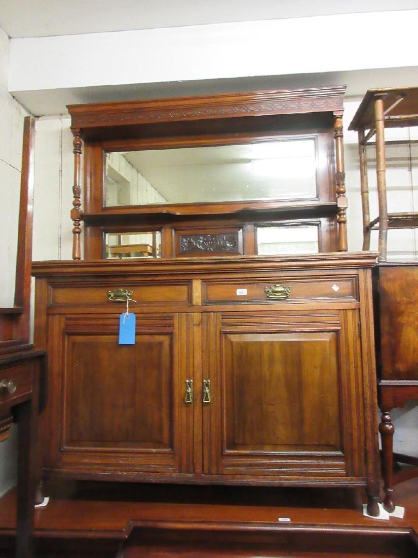 Edwardian mahogany sideboard, the mirrored canopy back