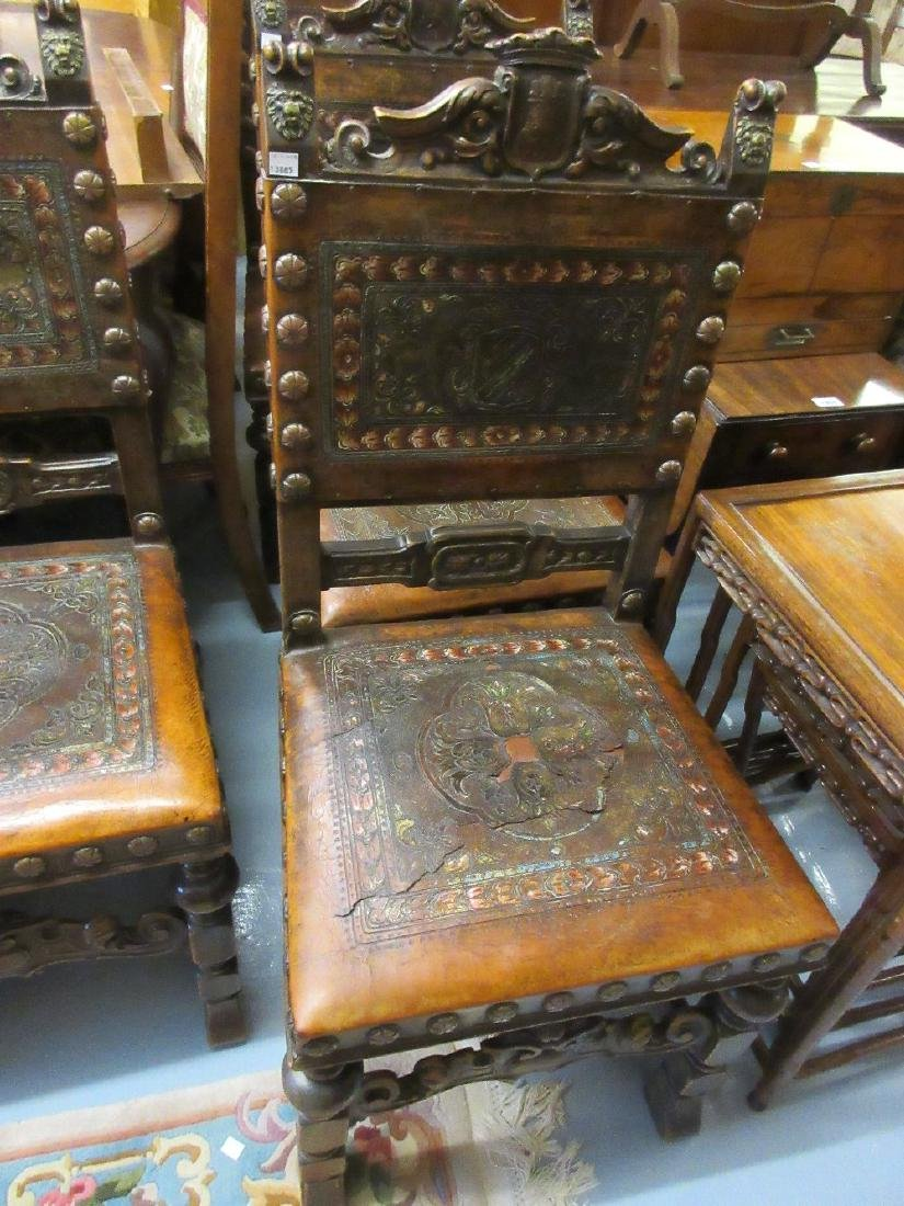 Set of four early 20th Century Continental carved oak